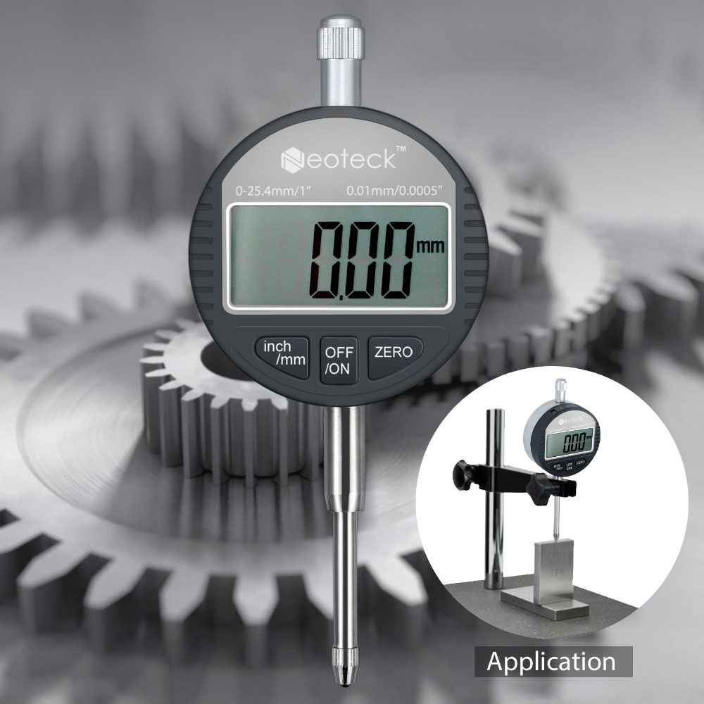 Neoteck DTI Digital Dial Indicator 0.01/.0005'' Probe Indicator Precision Tool Electronic Indicator 0-25.4mm/1'' Dial Gauge цена