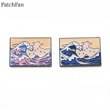 Patchfan The Great Wave off Kanagawa Zinc tie Pins backpack clothes brooches for men women hat decoration badges medals A1655