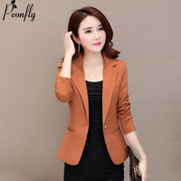 PEONFLY Fashion Black Blazer Women Long Sleeve Workwear Suit Coat Single Button Solid Color Female casual Jacket Autumn