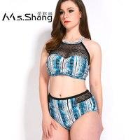 Ms Shang High Waist Bikini Swimsuit Women Push Up Swimwear Female Plus Size Swimwear Mesh Bathing