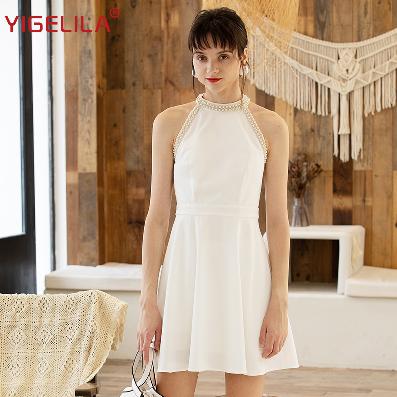 YIGELILA Latest Spring Fashion Women A Line High Street Patchwork Beading Empire Slim O Neck Mini
