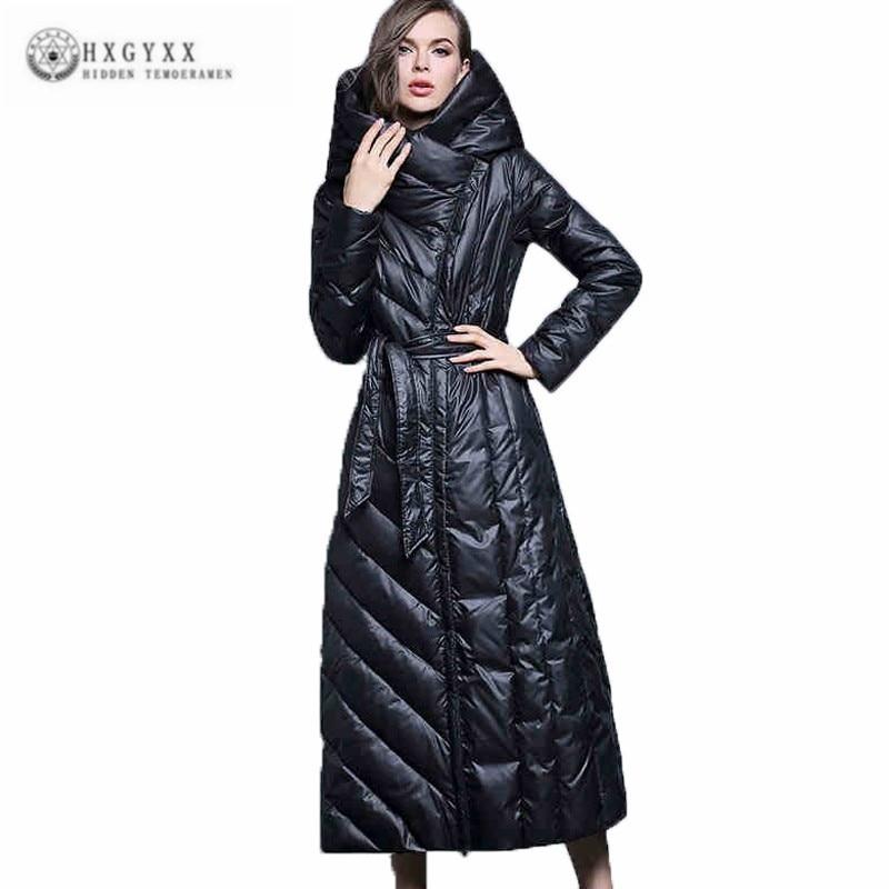 7XL Plus La Taille Vintage Européenne Mode Vêtements Blanc Duvet de Canard Veste Femmes Femelle Super Long Mince Genou Épais Pardessus J084