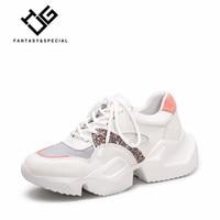 IGU Women Shoes Sneakers 2019 Genuine Leather High Platform Shoes Harajuku Tenis Feminino Sneakers Running Outdoor Dad Shoes
