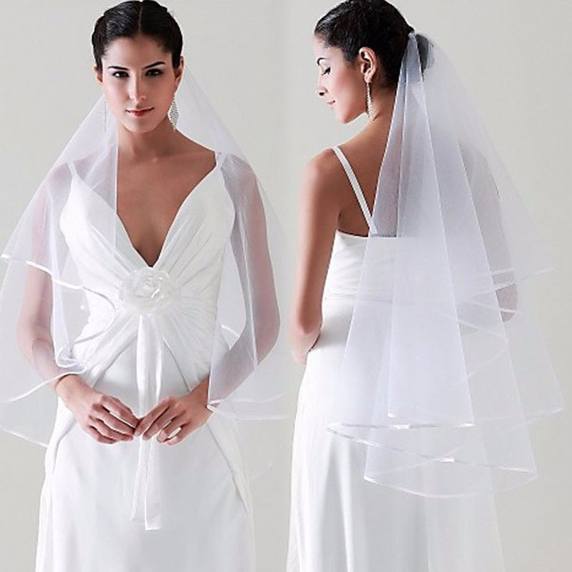 145 Wholesale Simple Two Layer  White Ivory Wedding Veil