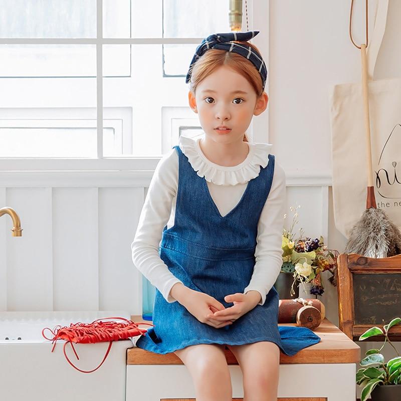 2017 Spring Autumn new baby girls dark blue cotton Korean style princess dress slim Sleeveless Suspender Denim mini short dress napapijri guji check dark blue