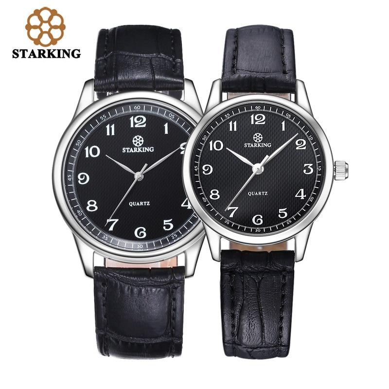 STARKING Quartz Watch Geunine Leather Strap lovers Wristwatch with Sapphire Crystal Glass Unisex Men Women Watch Gifts BM/L0908 jubaoli rotatable bezel male watch quartz leather strap wristwatch