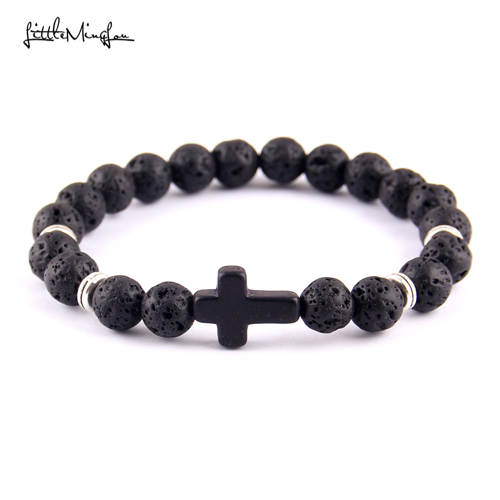 Little MingLou New Trendy cross Charm men bracelets Black Lava Stone mm