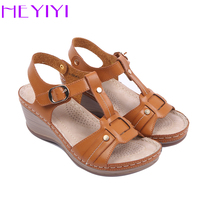 HEYIYI Women Casual Sandals Lightweight Platform Wedge Heel Sewing T Strap Comfortable Soft Insole Women Shoes