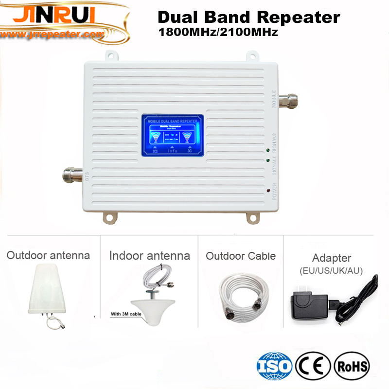 Gain 70dB GSM REPEATER 2100 & 1800 Dual Band Cellular Amplifier Gsm 3G 4G WCDMA 2100 LTE 1800 Mobile Signal Repeater Lcd Display