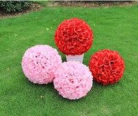 Hot Rose 25 M 10 polegada cryptage artificielle soie fleur Rose boule pendante embrasser boule pour le mariage décoration fournitures
