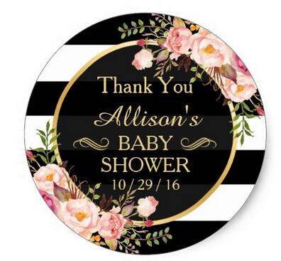 1 5inch Modern Vintage Floral Decor Baby Shower Thank You Classic Round Sticker