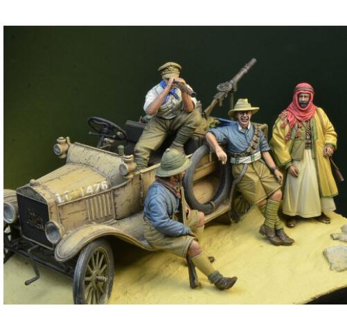 1/35 WWI ANZAC Desert 4 Figures  With Accessories NOT HAVE CAR  Toy Resin Model Miniature Resin Figure Unassembly Unpainted