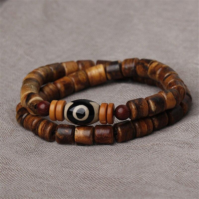 Sennier New design Handmade Natural Nanmu wood beads charm bracelets Man Woman Dzi bead wooden male Bracelet