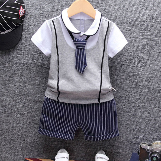 c127c9198db0 1st birthday baby boy summer clothes set T shirt tops+pants suit for ...