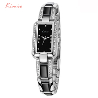 2016 Luxury Brand Rectangle Women Watch KIMIO Ladies Bracelet Watches Women Dress Rhinestone Imitation Ceramic Quartz
