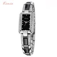 2016 Luxury Brand Rectangle Women Watch KIMIO Ladies Bracelet Watches Women Dress Rhinestone Imitation Ceramic Quartz