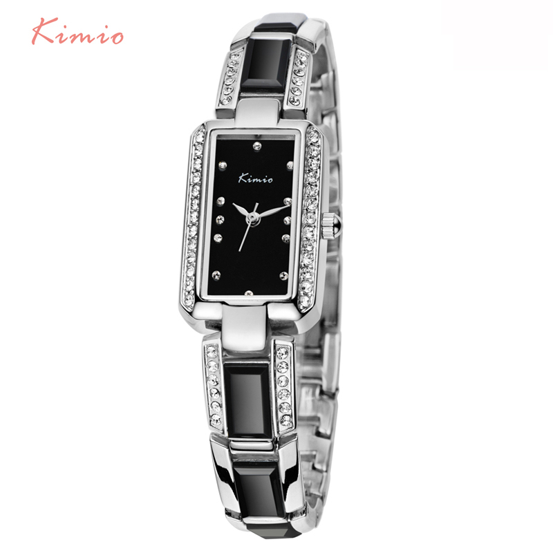 KIMIO Rectangle Rhinestone Imitation Ceramic Bracelet Ladies Quartz Watch 2017 Luxury Brand Women Wrist Watches For Women Dress new arrival bs brand quartz rectangle bracelet women luxury crystals bracelet watch lady rhinestone watch charm bangle bracelet