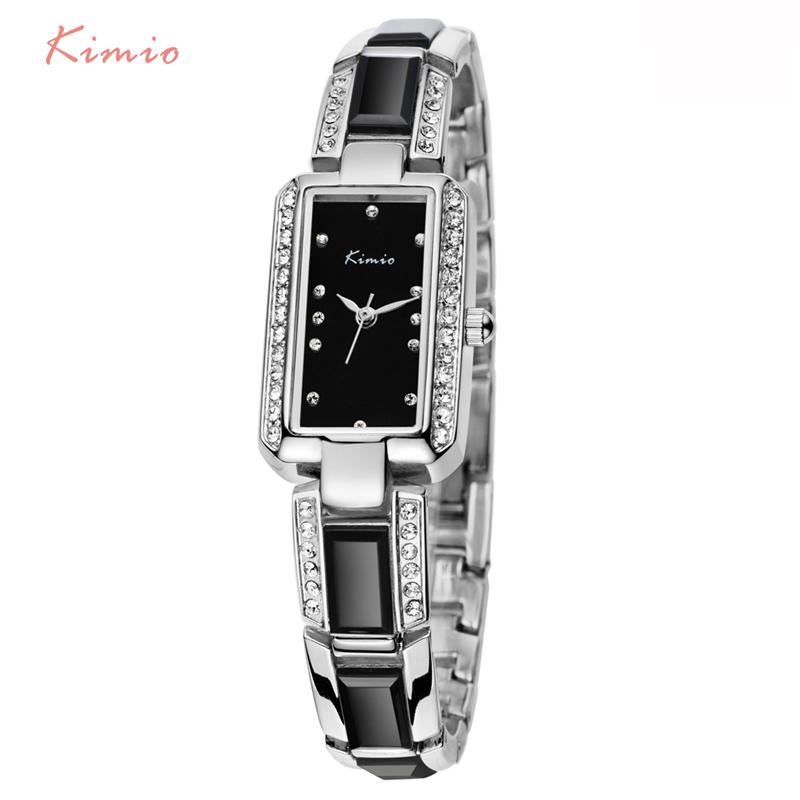 Prix pour Kimio rectangle strass imitation céramique bracelet quartz montre femme 2017 marque de luxe femmes montres pour femmes robe