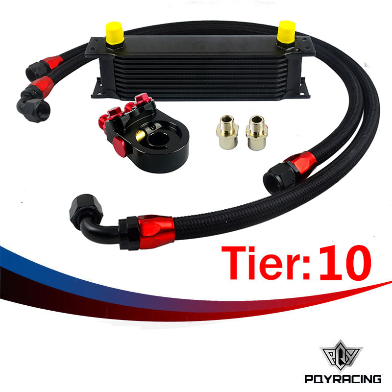 ФОТО PQY RACING- Universal 10 ROWS OIL COOLER ENGINE +AN10 oil Sandwich Plate Adapte with Thermostat +2PCS NYLON BRAIDED HOSE LINE
