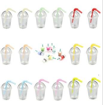 Miniaturas para muñecas en miniatura, 2/4 Uds., taza de café de paja, bebidas de helado, accesorios para juegos de comida