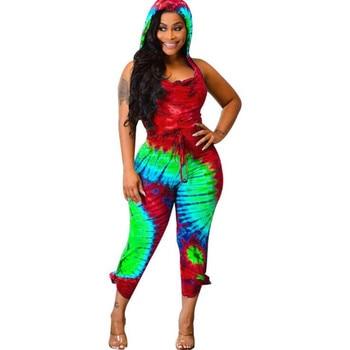 Rainbow Tie Dye Skinny Rompers Women Jumpsuit Summer Sleeveless Hooded One Piece Romper Casual Open Back Bodycon Jumpsuit S123