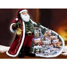 Diamante Pintura Pinturas Santa Claus Com Strass Diamante Bordado Praça Cheia de Strass Mosaico Decoração de Natal de Presente