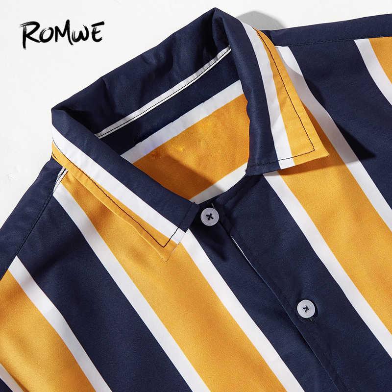 ROMWE Цвет Блок рубашка для мужчин 2019 мода лето мужской короткий рукав отложной воротник полосатая пуговица одежда Блузка