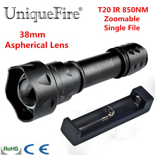 UniqueFire Hot Sale T20 IR 850NM Mini Led Flashlight Fit For IR Device 38 mm Lens Torch Lantern+Charger 3 Modes