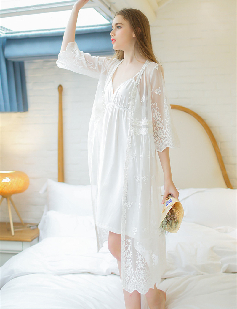 464970fc270a Online Shop Summer elegant sexy lace robe set lady white lace embroidery  dressing gown two-piece for women long bathrobes suit Hot sale