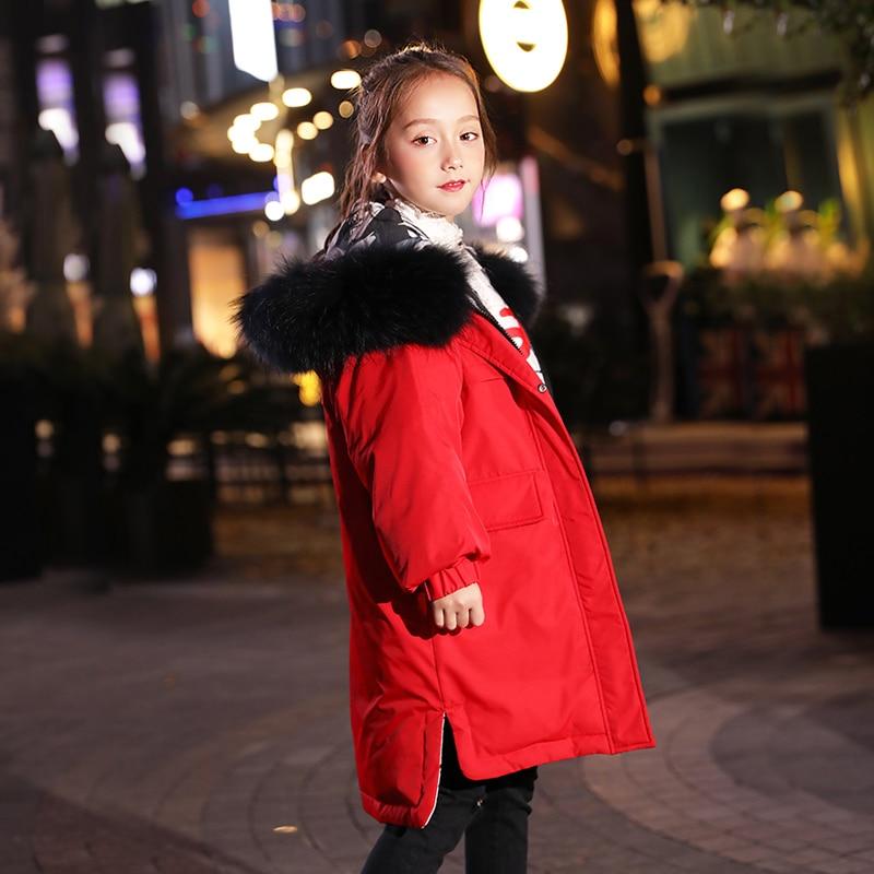 HSSCZL meisjes duck down jassen 2019 winter dikker jas grote meisje hooded natuurlijke kinderen bovenkleding jas kinderkleding 6 14 - 4