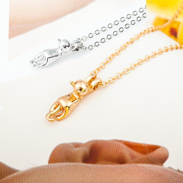 6fdb01d193c6 LNRRABC Mode Nette Schlüsselbein choker Halskette Katze Anhänger Legierung  Charme Gnade Mode männer schmuck heißer verkauf