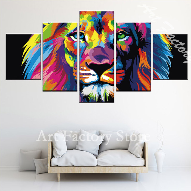 high quality Canvas Print Oil Painting Canvas Wall Painting 5 Panel Animal Lion Wall Picture For Living Room decoration