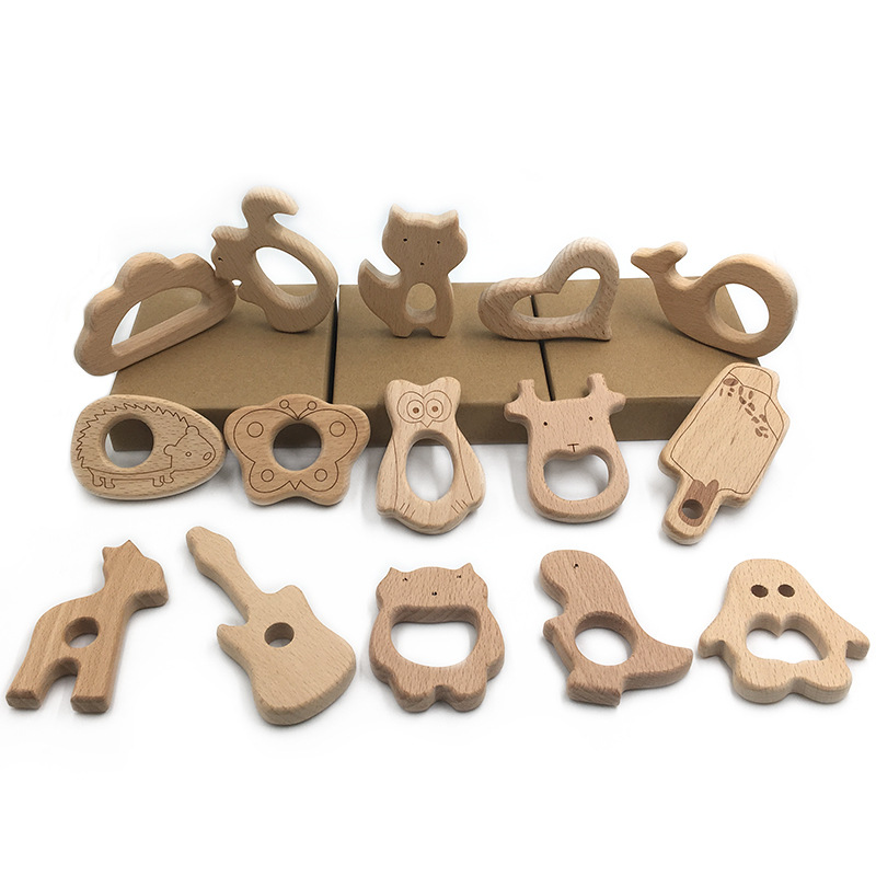 5pcs set Baby wooden teether,charm for nursing necklace heart whale,kangroo car shape Beech Wood Pendant
