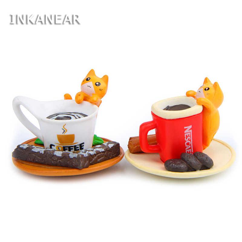 INKANEAR Cute Cat With Cup Fairy Garden Miniatures Decor Terrarium Action Figures Figurine DIY Car Ornament Toy Accessories