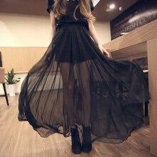 Women Skirts Mesh Gothic Slit See-Through Patchwork Chiffon Black Sexy Fashion Summer