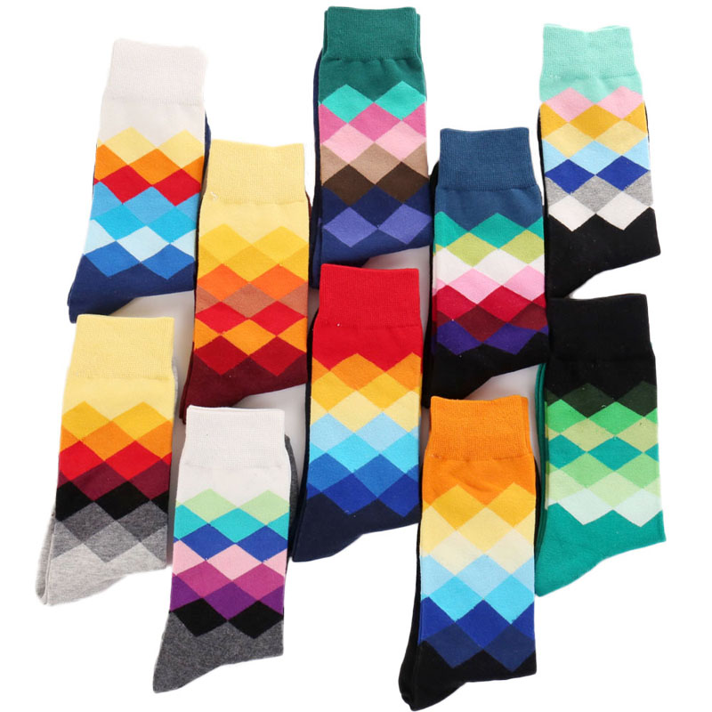 Plus Size 10 Pairs Casual Colorful Happy Socks Men Funny Cotton Socks Women British Style Plaid Calcetines Divertidos Unisex