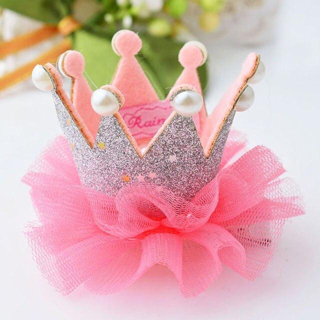 1 יחידות יפה בנות חמודה נסיכת כתר שיער קליפ אביזרי שיער סרט סיכות ראש כוכב נוצץ פנינת תחרה את המוצרים הזולים ביותר
