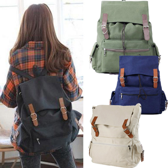 New Unisex Girl Boy Canvas Backpack Casual Shoulder Bag Magnet Button SchoolBag 4 Colors