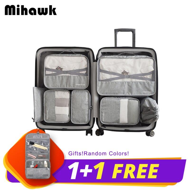 Mihawk 7 Pièces Un Ensemble Étanche sac de voyage Système Durable cube d'emballage vêtements unisexes De Tri Grande Capacité De Tidy Pouch