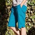 2016 Новый Твердые Хлопок белье Эластичный Пояс Женщин Шорты Летом Случайные колен Брюки Черный Синий Дизайн Бренда Шорты B105