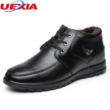 UEXIA Dad Winter Men Boots With Fur Warm Leather Platform Snow Ankle boots Father Shoes Cotton-padded Handmade Business Formal