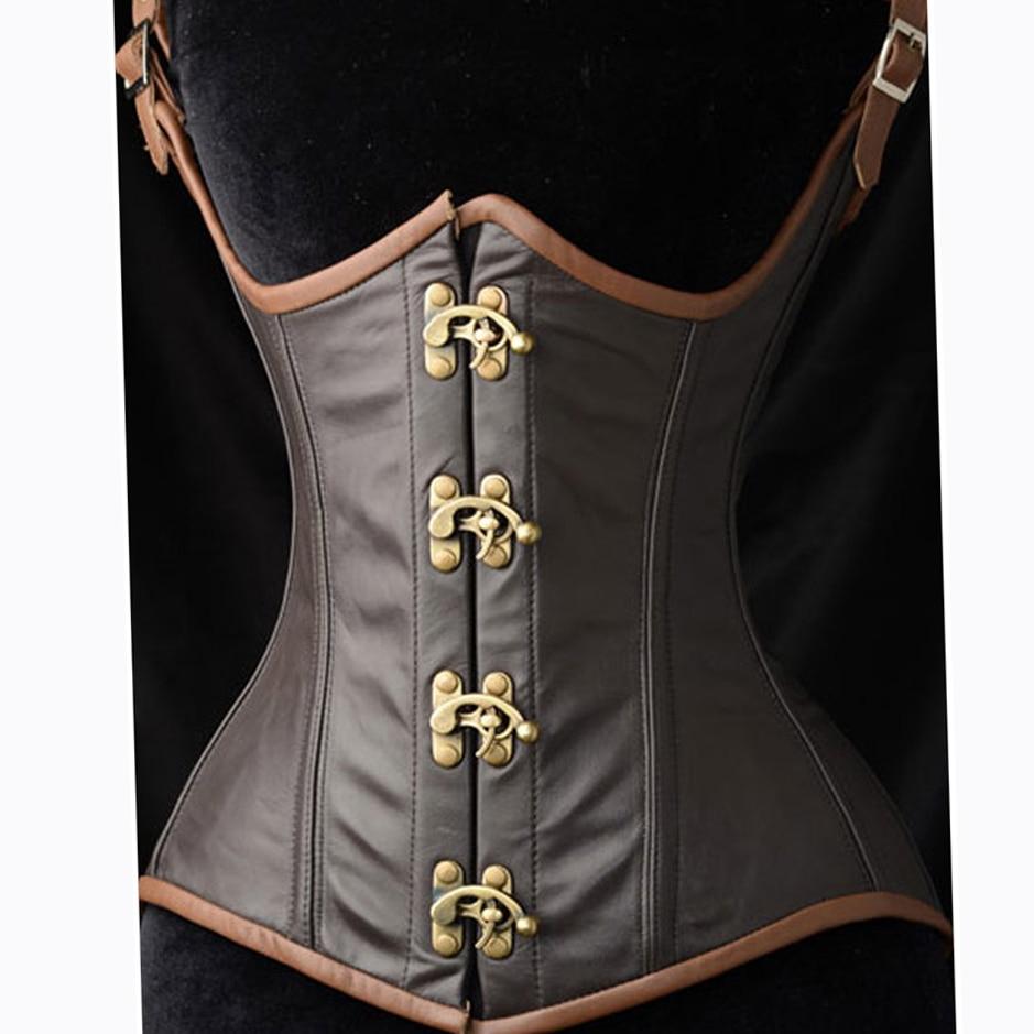 Women's Gothic Steampunk Faux leather Boned Waist Cincher   Corset   Vest push-up Bust Vintage Retro   Corset   Tops   Bustier