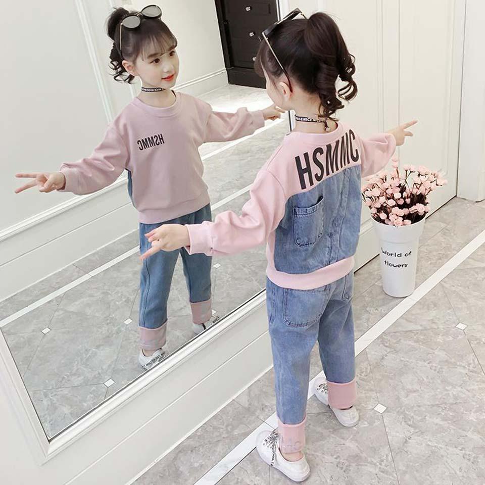Детская одежда, комплект одежды для крупных девочек 6, 7, 8, 9, 10, 11, 12 лет, комплекты одежды с длинными рукавами для девочек, детский джинсовый костюм со штанами, осень 2019|Комплекты одежды| | - AliExpress