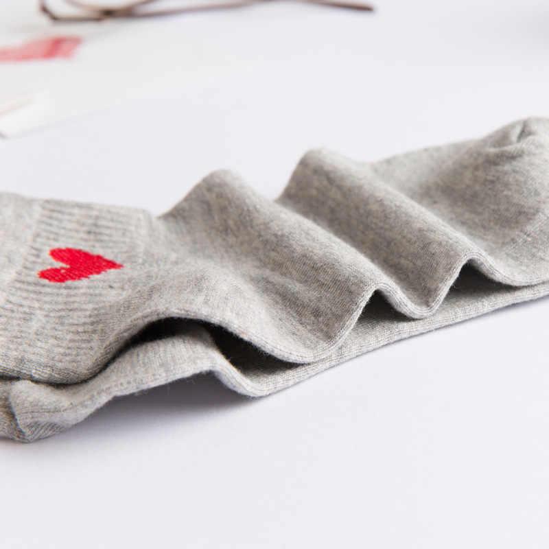 Лидер продаж; женские забавные носки до щиколотка хлопковые носки; сезон весна-лето; тонкие однотонные носки; тапочки; повседневные милые женские носки с изображением красного сердца