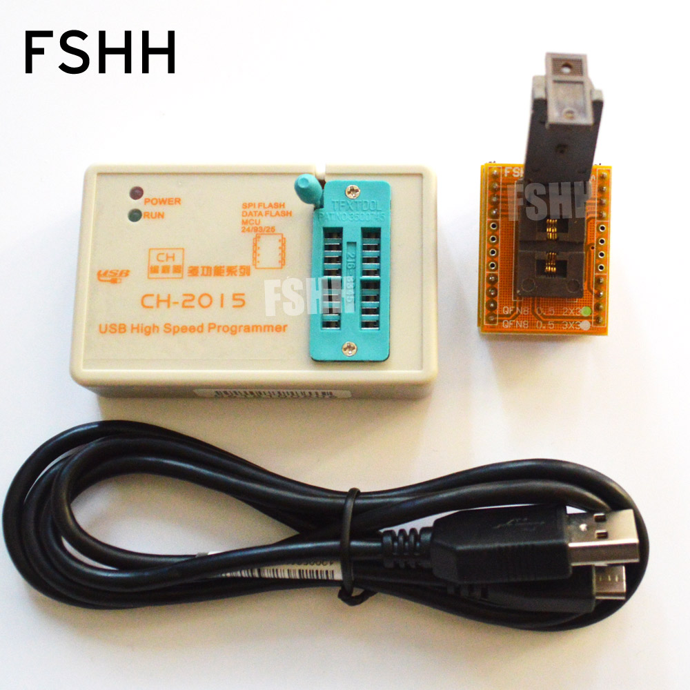 FREE SHIPPING!Program CH2015 USB High speed programmer+Pitch=0.5mm 2x3 QFN8 to DIP8 socket eeorom/spi flash/data flash free shipping rt809f usb spi programmer v1 8adapter spi flash sop8 dip8 w25 mx25
