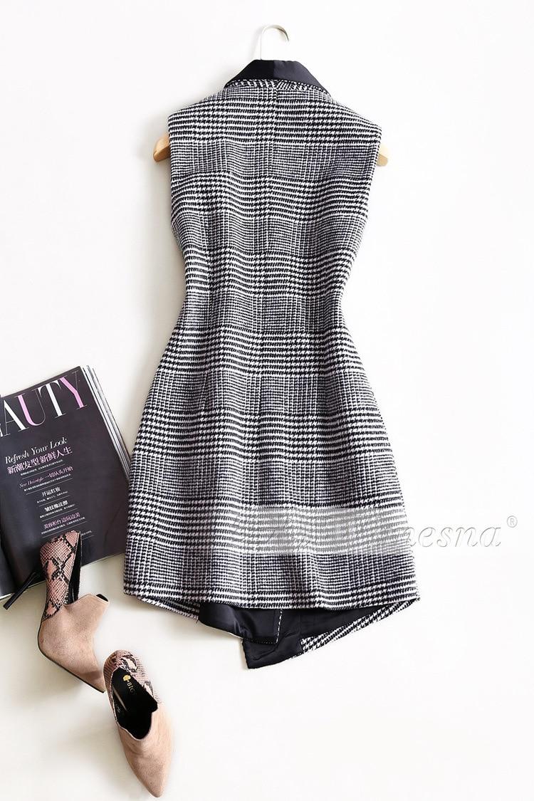 Nouvelle Mode Gilet Dames Plaid Femmes Manches Luxe Col De Formelle Laine Entaillé Vêtements Designer Noir Gilets 2019 Sans Manteaux Bureau wFRwCqS