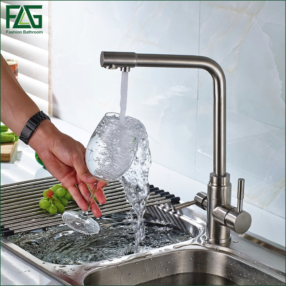 3 Way Tap 304 Stainless Steel Drinking Water Faucet Water Filter Purifier Kitchen Faucets For Sinks