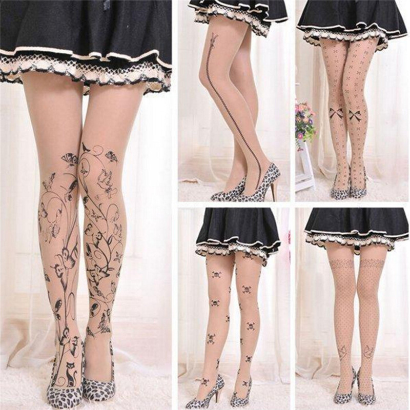 1PCS New Cute Patterns Printed Pantyhose  Fashion Women Sexy Tattoo Tights Hosiery Ladies Gifts 6 Styles