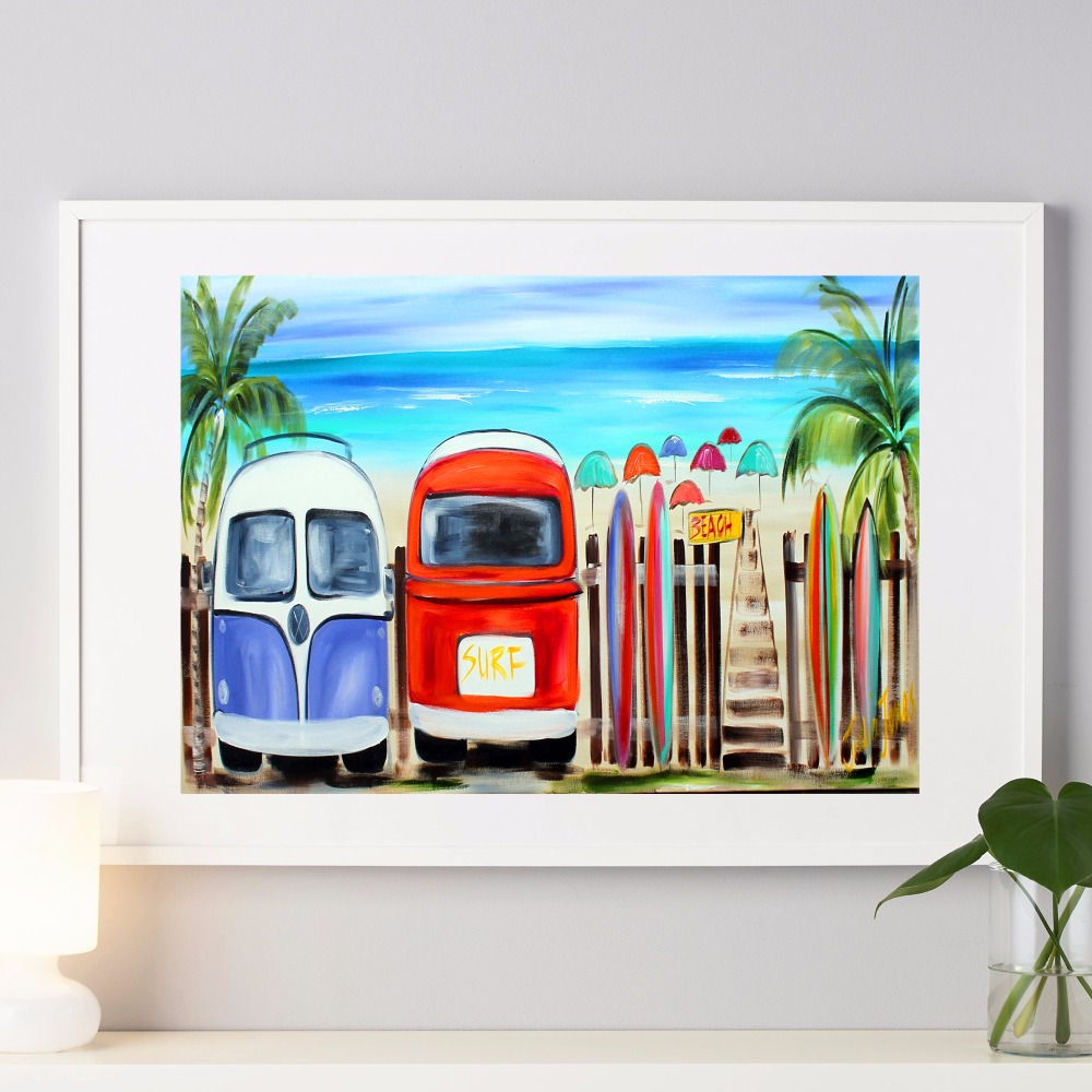online get cheap surf canvas art aliexpress com alibaba group surf and bulli bus travel canvas art print painting poster wall pictures for living room home decorative bedroom decor no frame