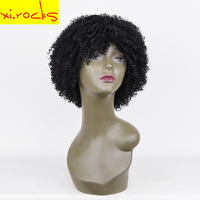 Xi.rocks Short Curly Synthetic Hair Wigs Women Daily Hair Balck Brown Light Brown 3Color Wig For Cosplay And Party